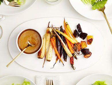 Plate veggies with dark, leafy winter greens of choice.