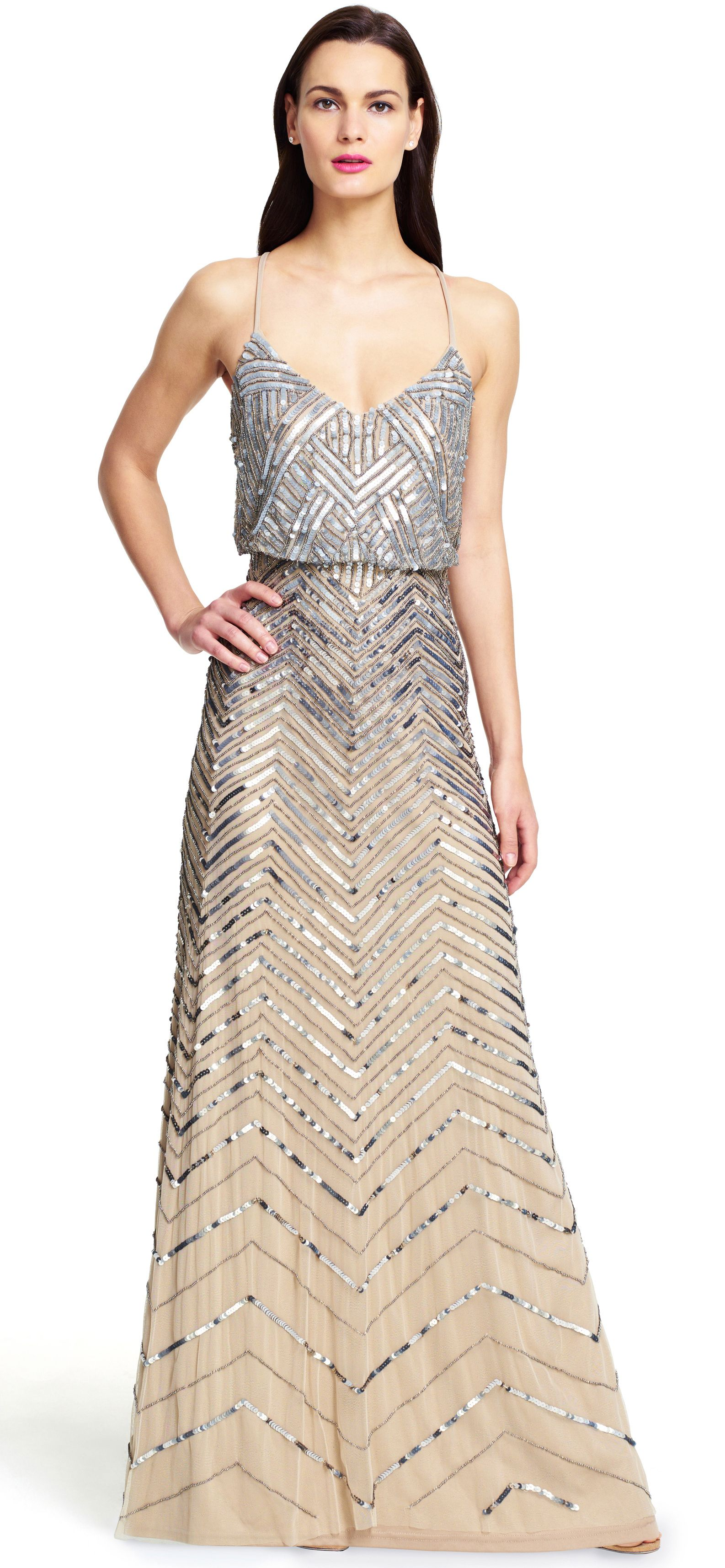 Papell cap sleeve beaded sequined gown dresses women macy s - Adrianna Papell Chevron Beaded Blouson Gown Brilliant Beads Light Up This Stunning Beaded Blouson Gown