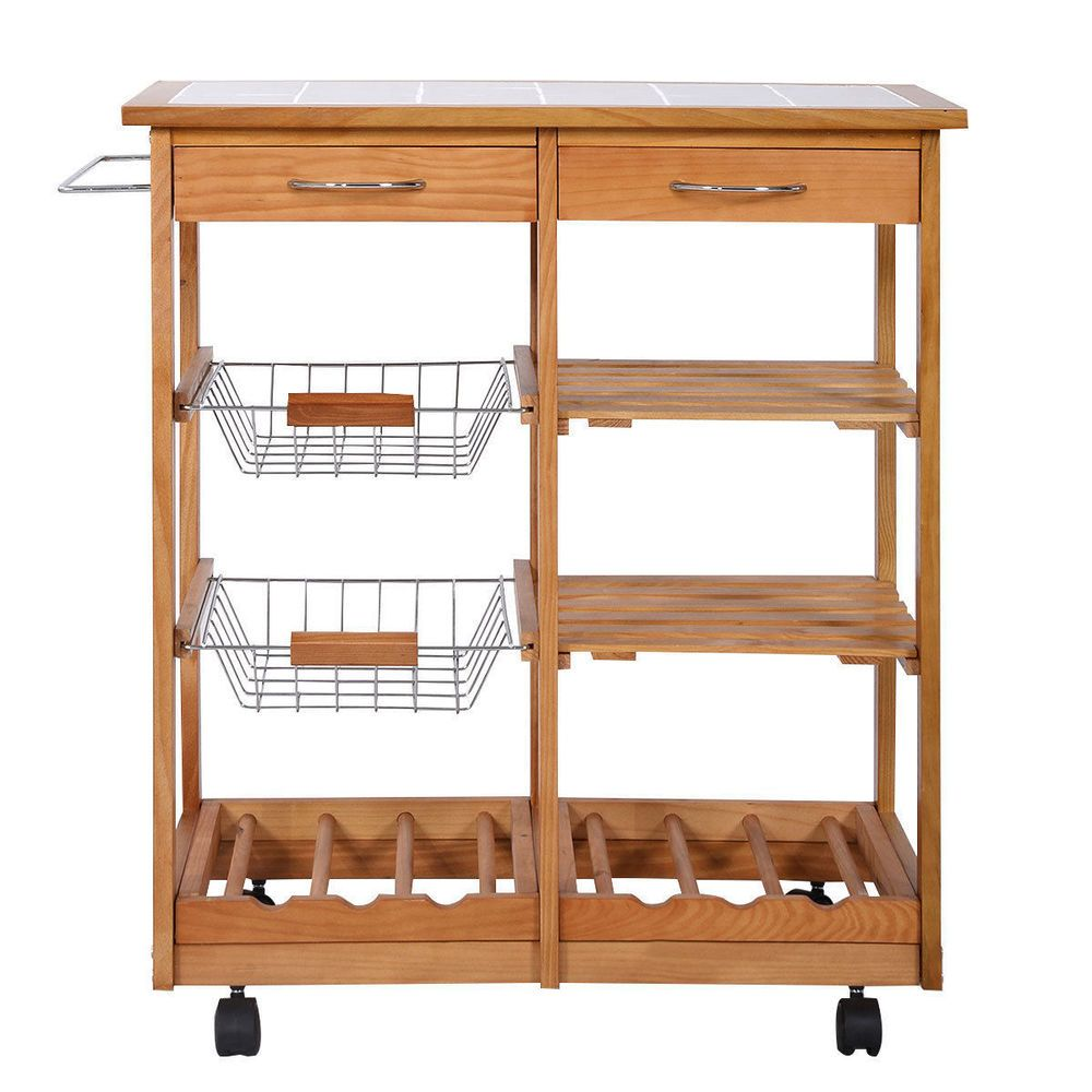 Kitchen Island Cart Rolling Storage Trolley Storage Drawer ...