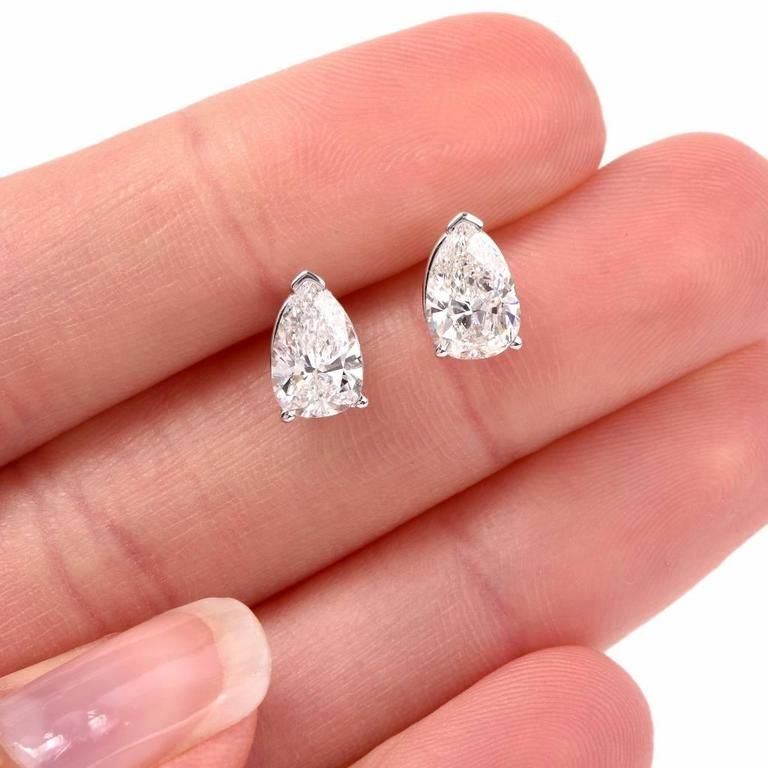 2 15 Carat Pear Shape Diamond Platinum Stud Earrings 2 White Gold Jewelry Set Gem Earrings Women S Jewelry And Accessories