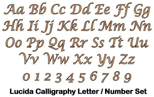 Lucida Calligraphy Full Alphabet And Numbers Set
