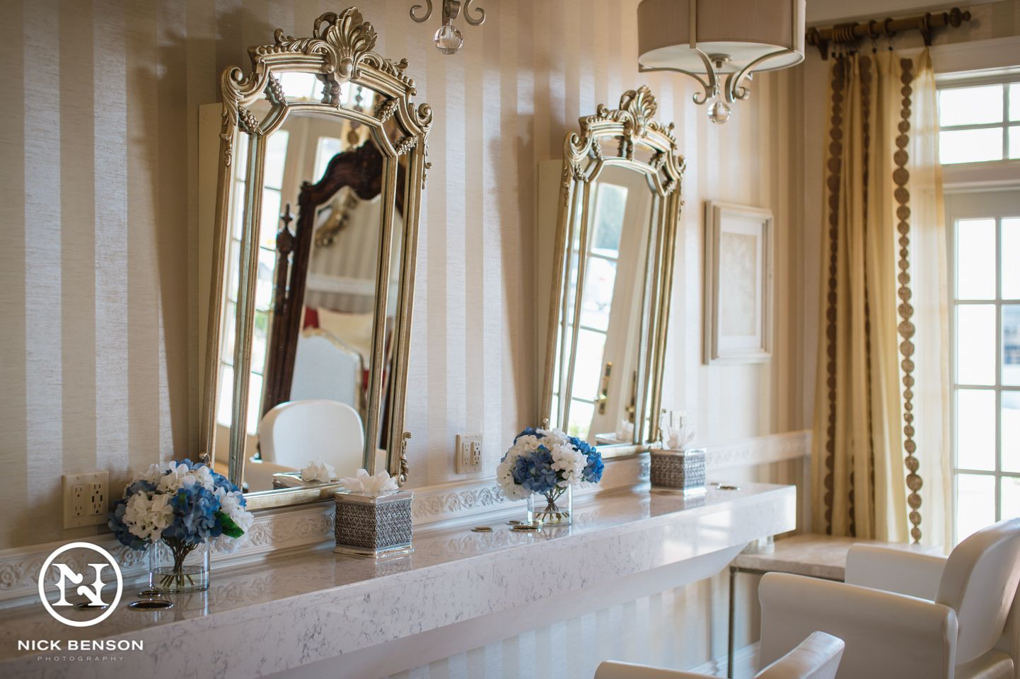 salon style bridal prep room at bonnet island estate manahawkin