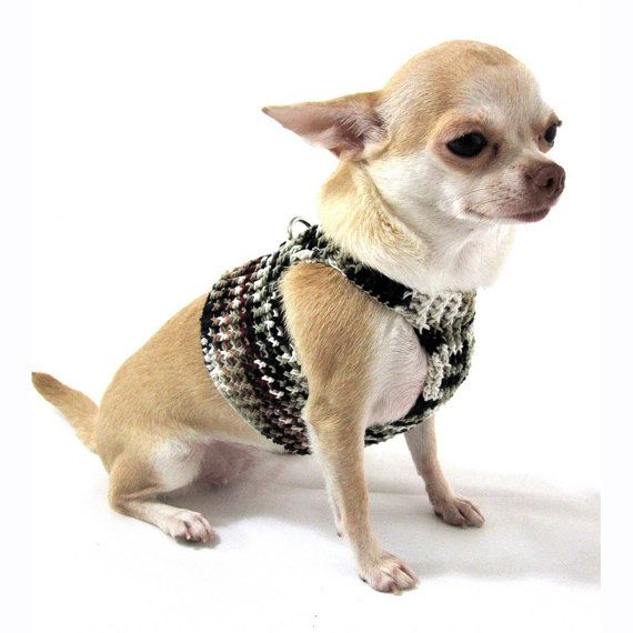 Free Crochet Pattern For Dog Harness : Dog Harness XXS Black Grey Pet Leash Walking Puppy Collar ...