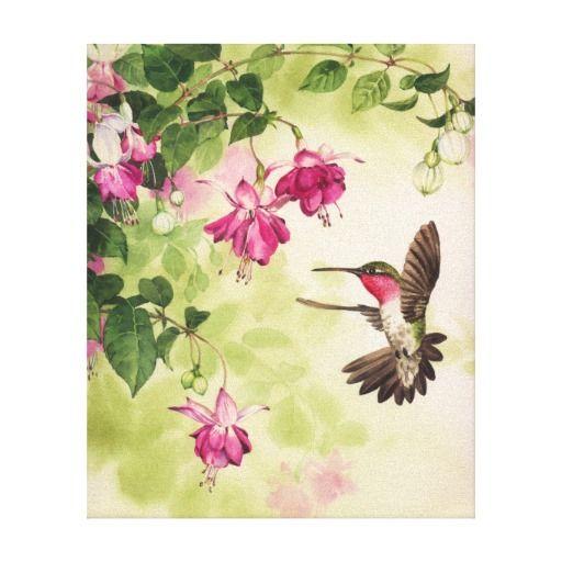 Retro Tropical Flower Pattern Canvas Print