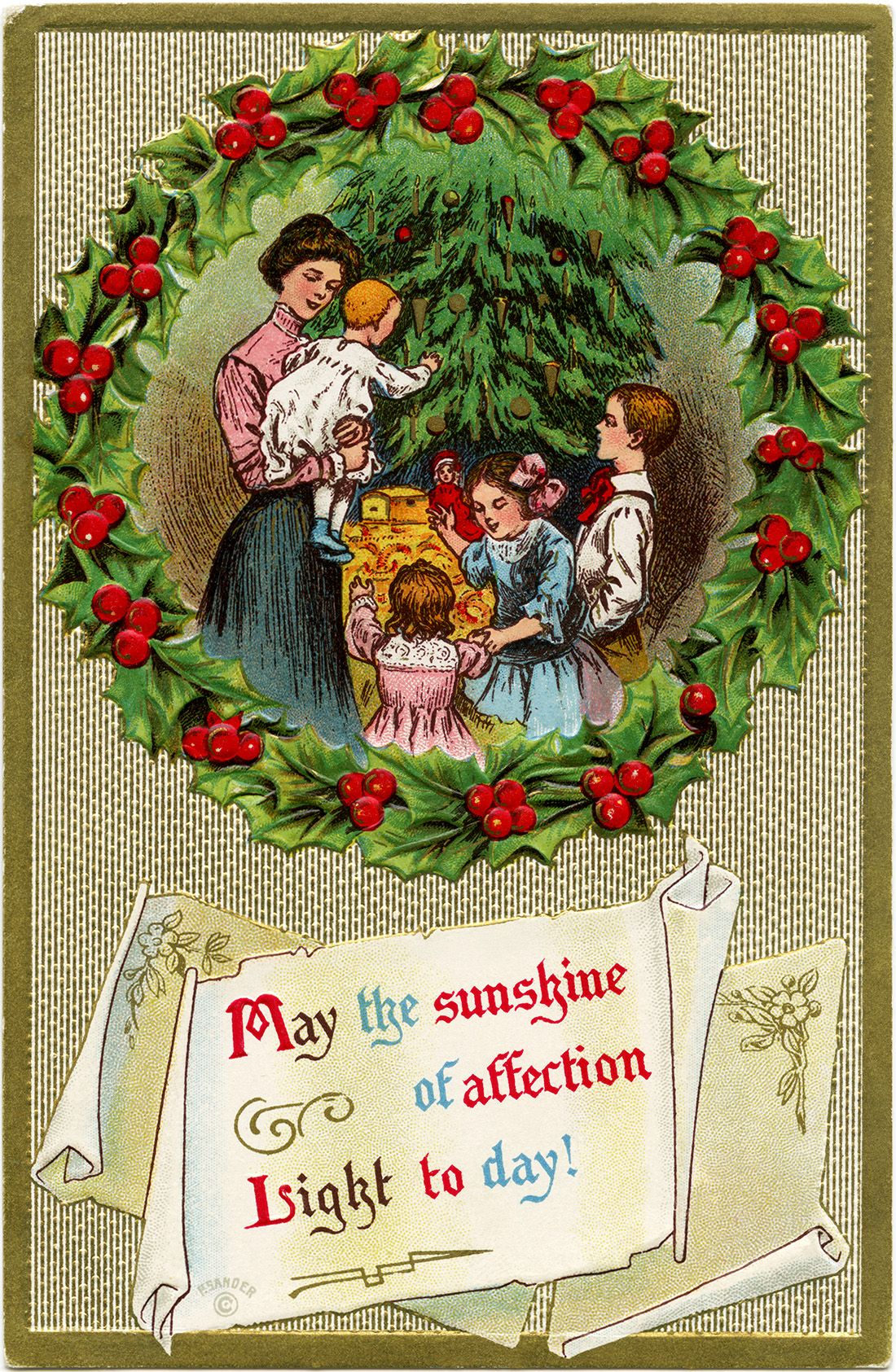 Wreath from old christmas cards - Victorian Christmas Clip Art Vintage Christmas Postcard Old Fashioned Christmas Card Family Around Christmas Tree Holly Berries Wreath Illustration