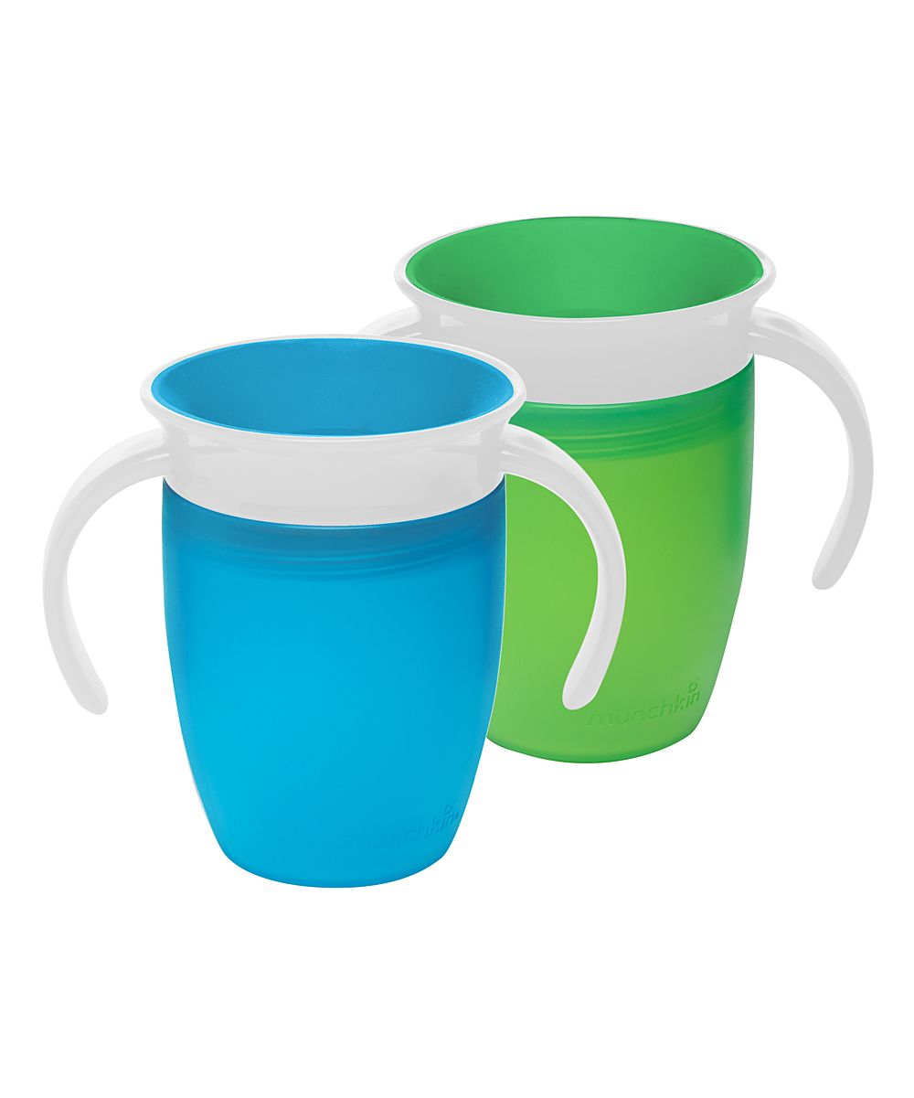 Green & Blue Miracle 360˚ 7-Oz. Trainer Cup - Set of Two