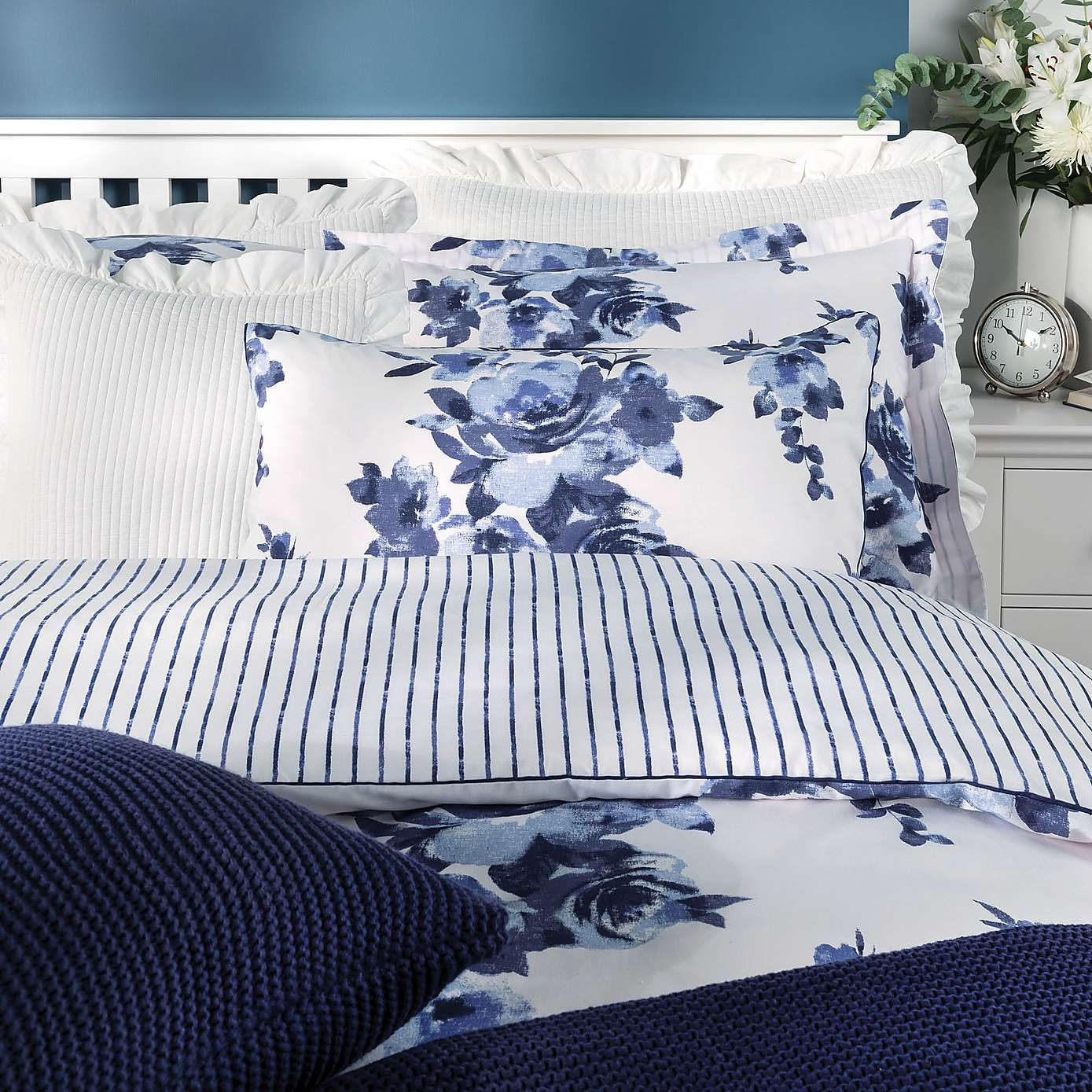 Saria Floral Blue Bed Linen Collection Dunelm Blue Bedding Sets Blue Bedding Blue Linen Bedding Blue and white duvet covers