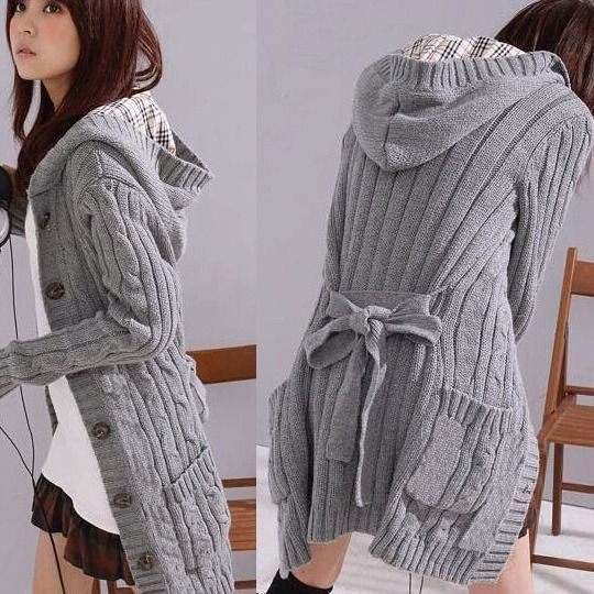 New Womens Long sleeve Hooded Sweater Jacket Cardigan Outerwear ...