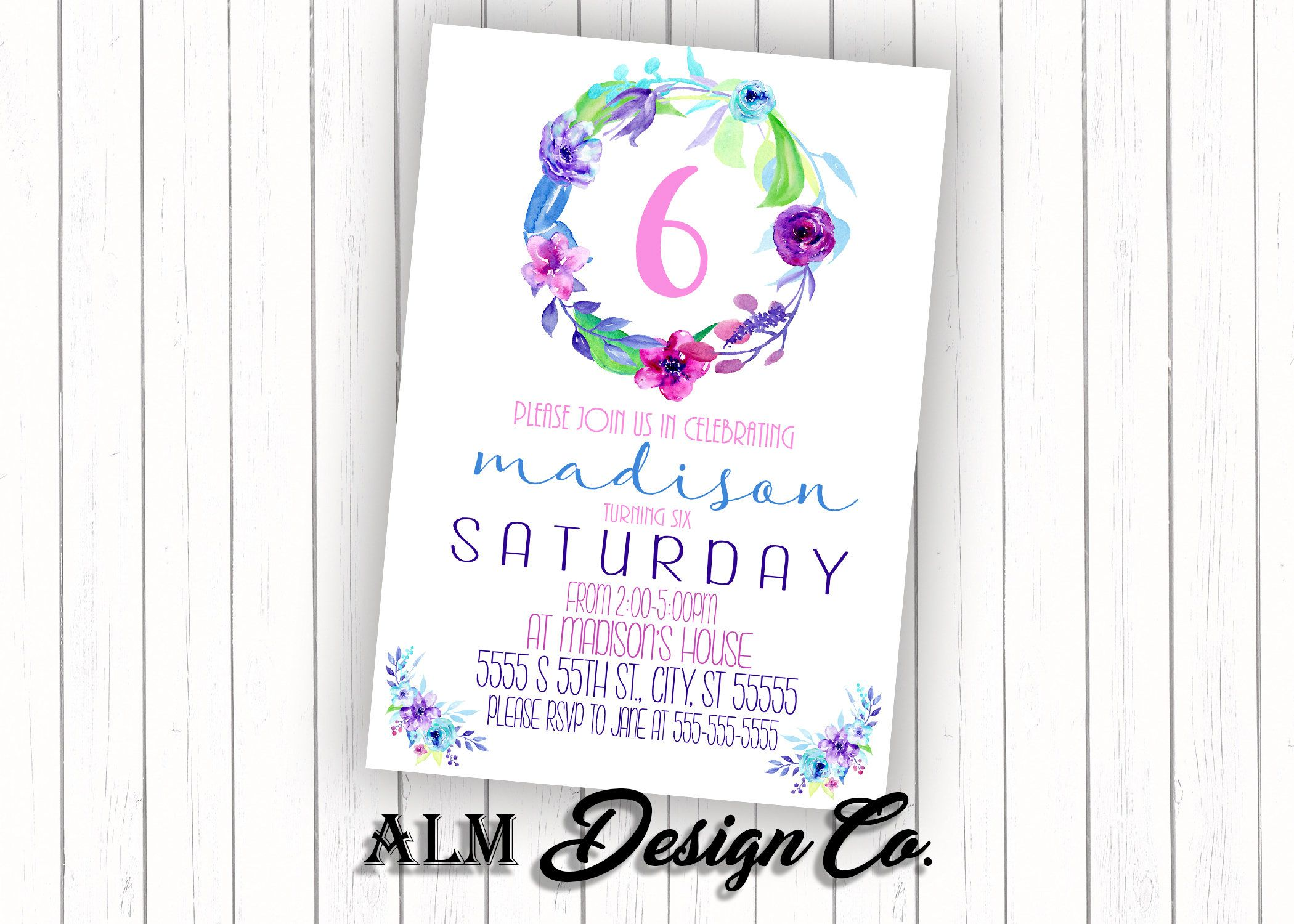 Floral birthday party invitation purple flower invitation girls floral birthday party invitation purple flower invitation girls birthday invitation flower birthday invitation filmwisefo
