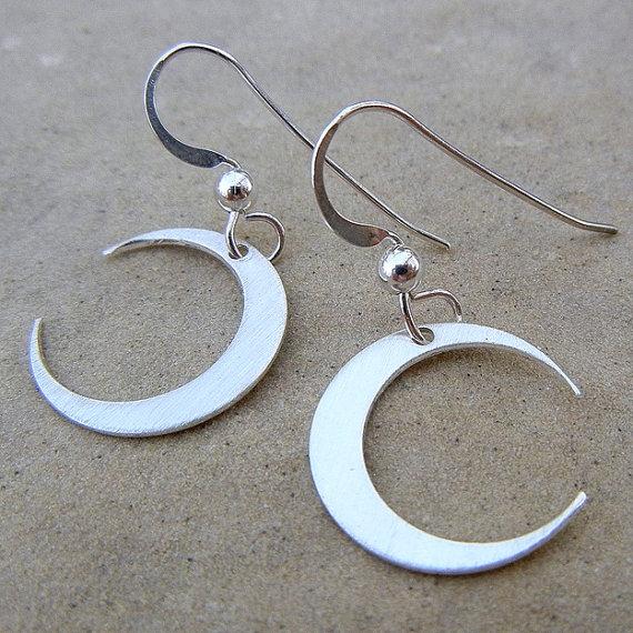 Crescent Moon Earrings Sterling Silver By Eriadesignsjewelry