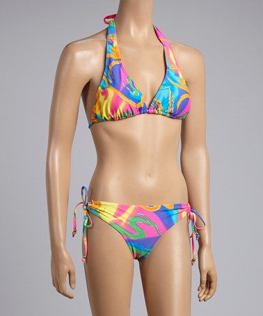 Look what I found on #zulily! Pink Abstract Halter Bikini #zulilyfinds