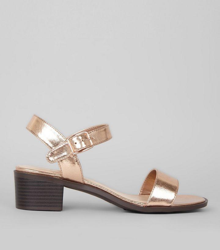 Rose Gold Low Block Heel Sandals