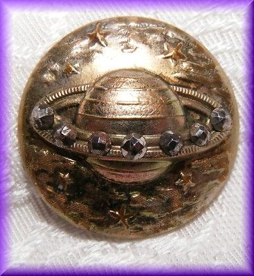 Victorian Galactic Tinted Brass Button Planet Saturn w Ring of Cut Steels