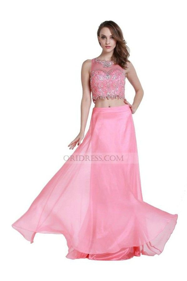 Illusion Two Pieces Chiffon Floor Length Long Pink A Line Prom Dress ...