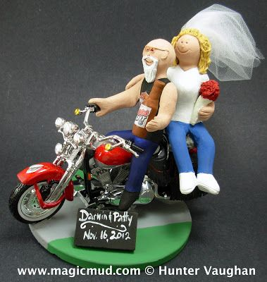 Bald Biker Groom with Goatee Wedding Cake Topper  ....nothing is going to keep this distinguished groom from his bride to be.... resplendent in his Harley Davidson tank top tshirt and jeans... de rigeur garb for any self respecting biker.... that magnificent goatee flying in the breeze....$250#biker#harley#motorcycleharley_davidson#wedding #cake #toppers  #custom #personalized #Groom #bride #anniversary #birthday#wedding_cake_toppers#cake_toppers#figurine