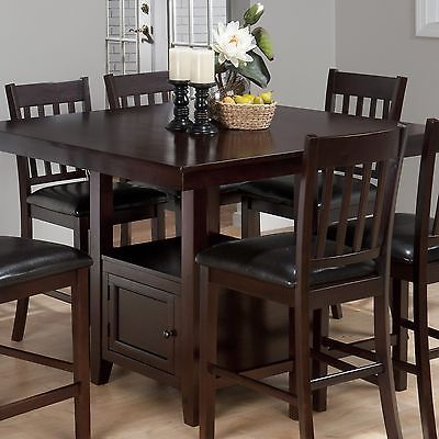 9 Piece Dark Solid Wood Counter Height Pub Set Table Chair Dining