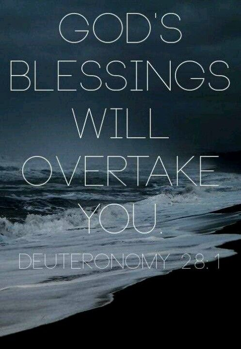 God's blessing will overtake you, in Jesus name! Deuteronomy 28:1 ...
