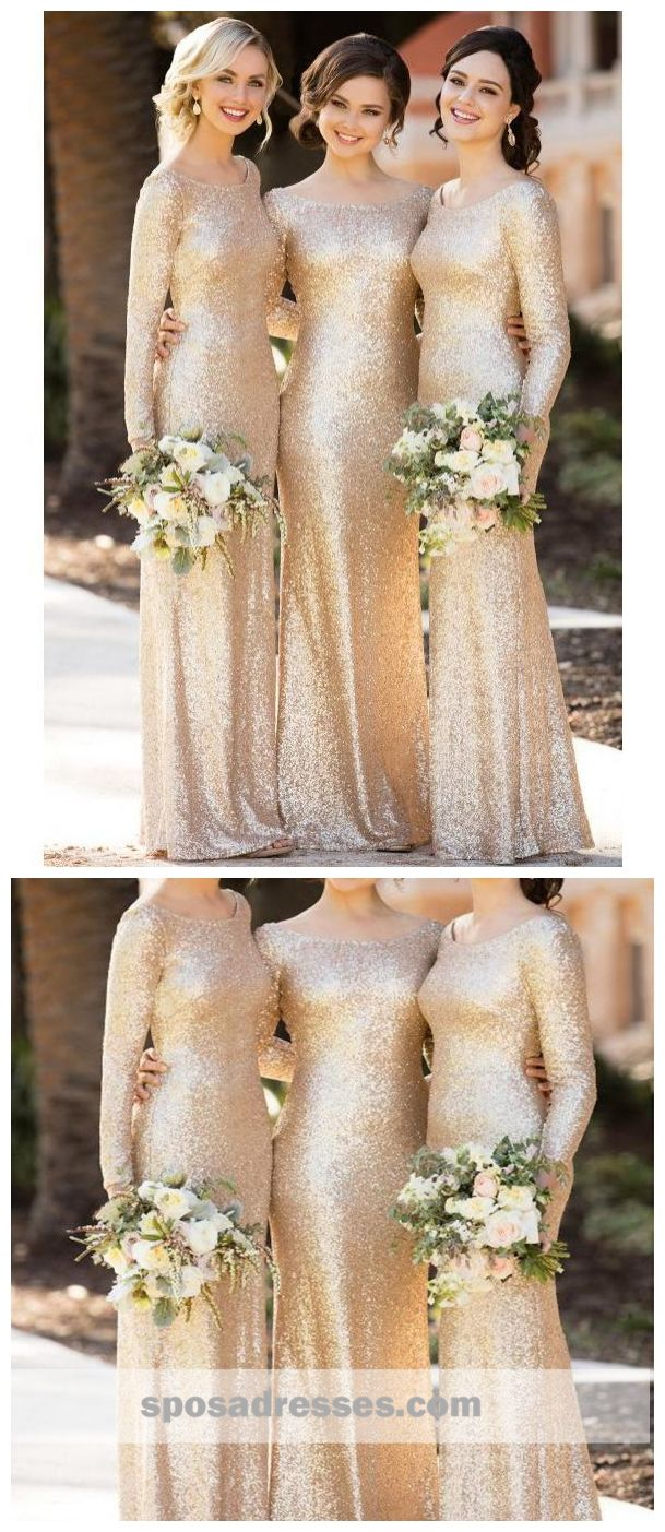 Long sleeves gold sequin mermaid cheap long bridesmaid dresses