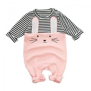 Sweet Rabbit Stripes Lonf-sleeve Jumpsuit for Baby
