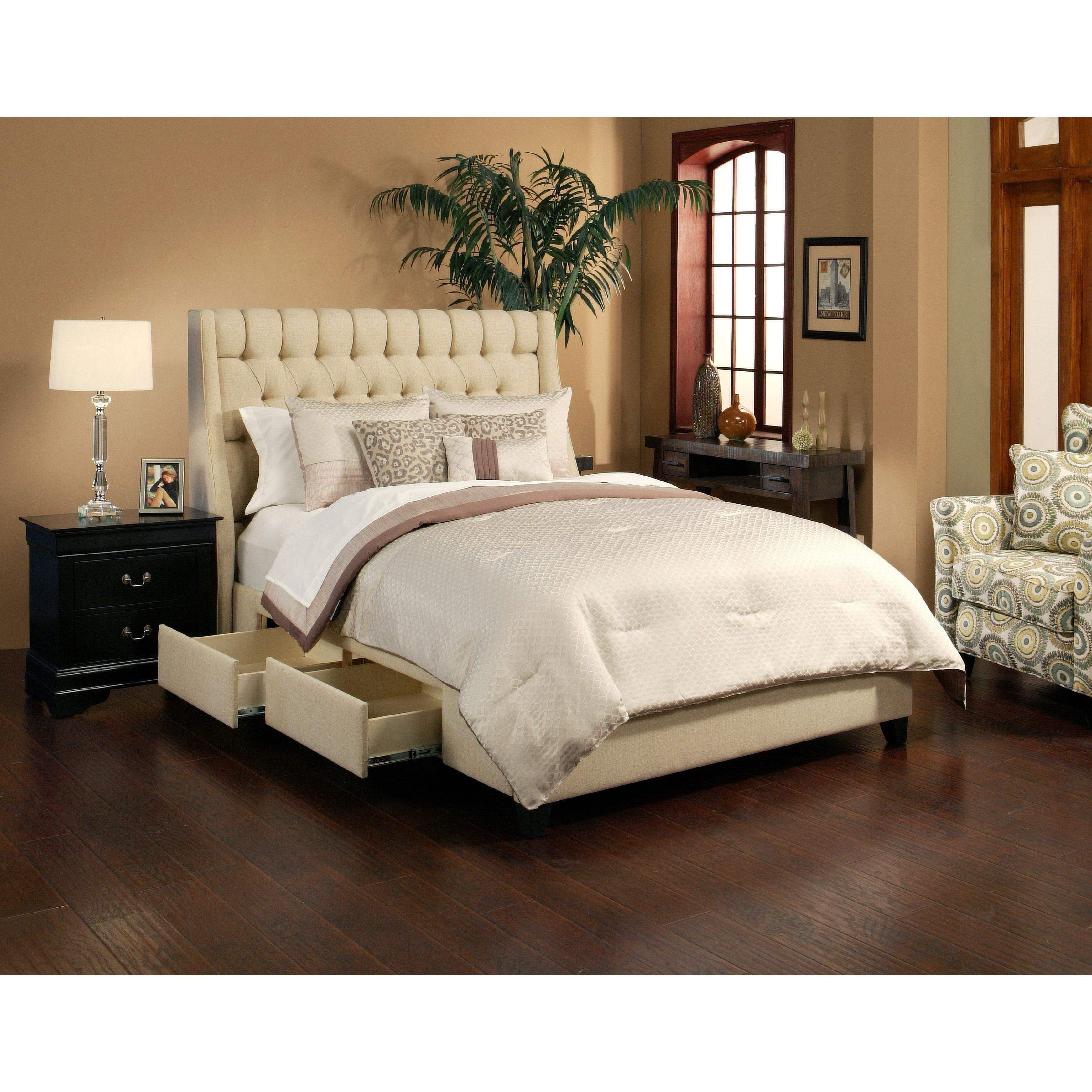The Cambridge platform storage bed with 4 drawers has a designer headboard upholstered and in sturdy  sc 1 st  Pinterest & The Cambridge platform storage bed with 4 drawers has a designer ...