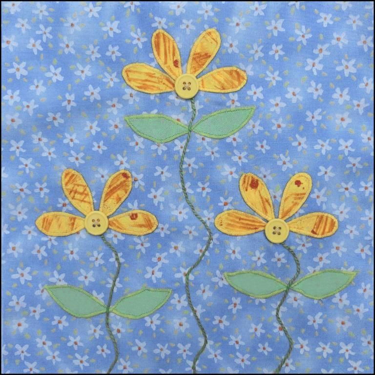 (7) Name: 'Quilting : Daisies Applique Quilt Block Pattern