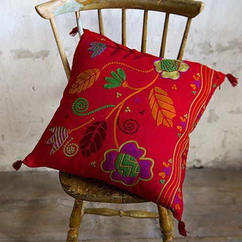 "Our ""Paradiset"" cushion in a linen/cotton mix will cheer up any room in need of a little colour boost. ❤️ __________________________________  #cushion #christmas2015 #pillow #colourful #colorful #colorboost #patterns #floral #embroidery #chainstitch #Swedishdesign #interior4all #interiordecor #countryliving #lantliv #broderi #mönster #blommigt #rött #red #jul2015 #färgstarkt #kudde #gudrunred #gudrunsjoden #gudrunsjöden #gudrunsjoeden"