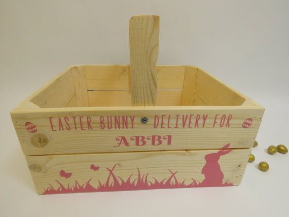 Personalised wooden easter crate easter basket easter bunny hamper personalised wooden easter crate easter basket easter bunny hamper easter gift easter egg hunt negle Image collections