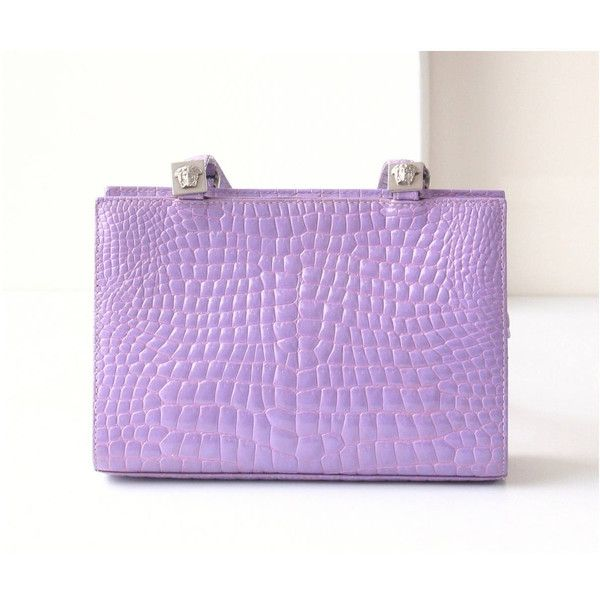 531cda21edcd Authentic Gianni Versace Couture Violet Crocodile Leather Sholder Vintage  handbag ( 850) found on Polyvore featuring women s fashion