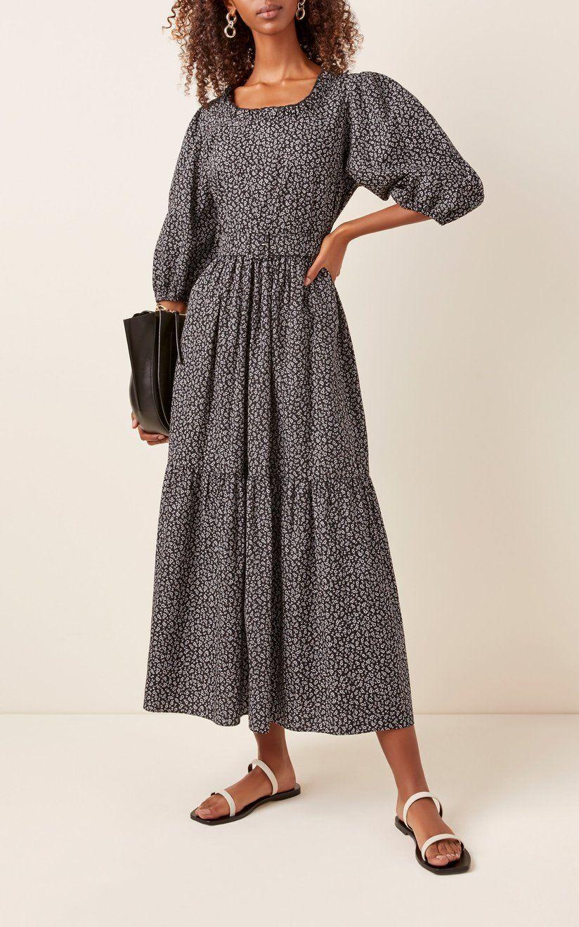 Sandy Liang Seeds Floral Print Cotton Poplin Midi Dress   Designer ...