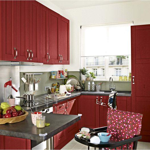 Meuble De Cuisine Delinia Composition Type Rubis Chene Patine Rouge Eclairage Sous Meuble Cuisine Meuble Cuisine Meuble Haut Cuisine Ikea