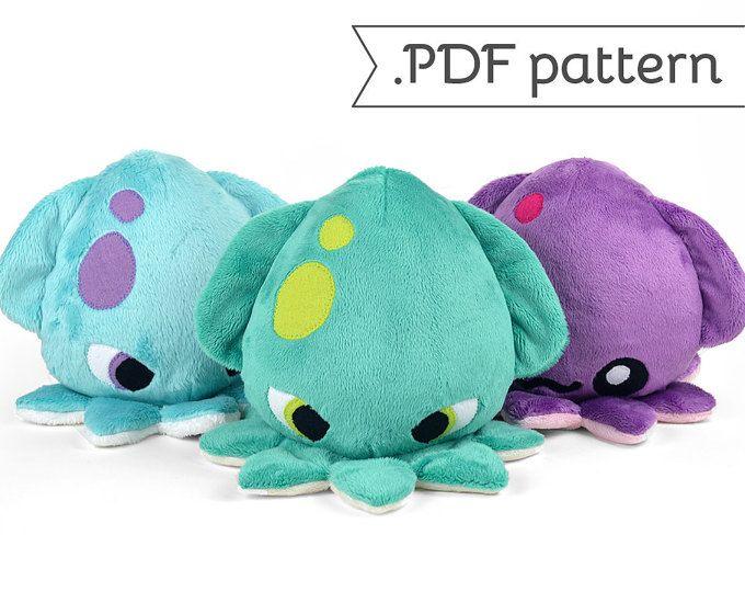 Kraken Squid Plush .pdf Sewing Pattern | Nähen (Schnittmuster ...