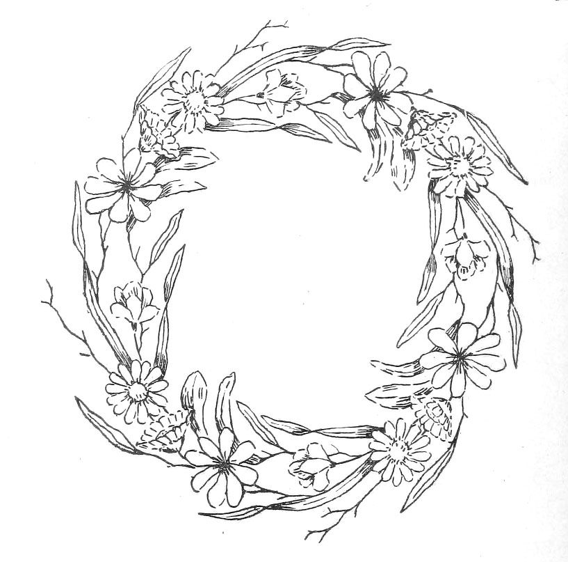 Embroidery: Pattern--mostly outline stitch with some color