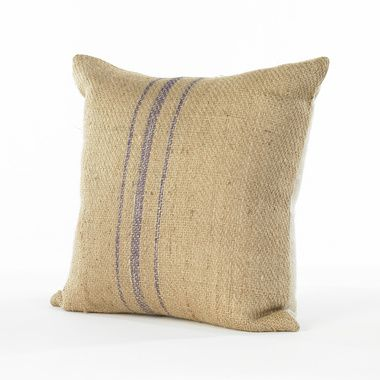 Burlap Pillow With Purple Stripe South Of Market 295 Burlap Painting Burlap Burlap Pillows