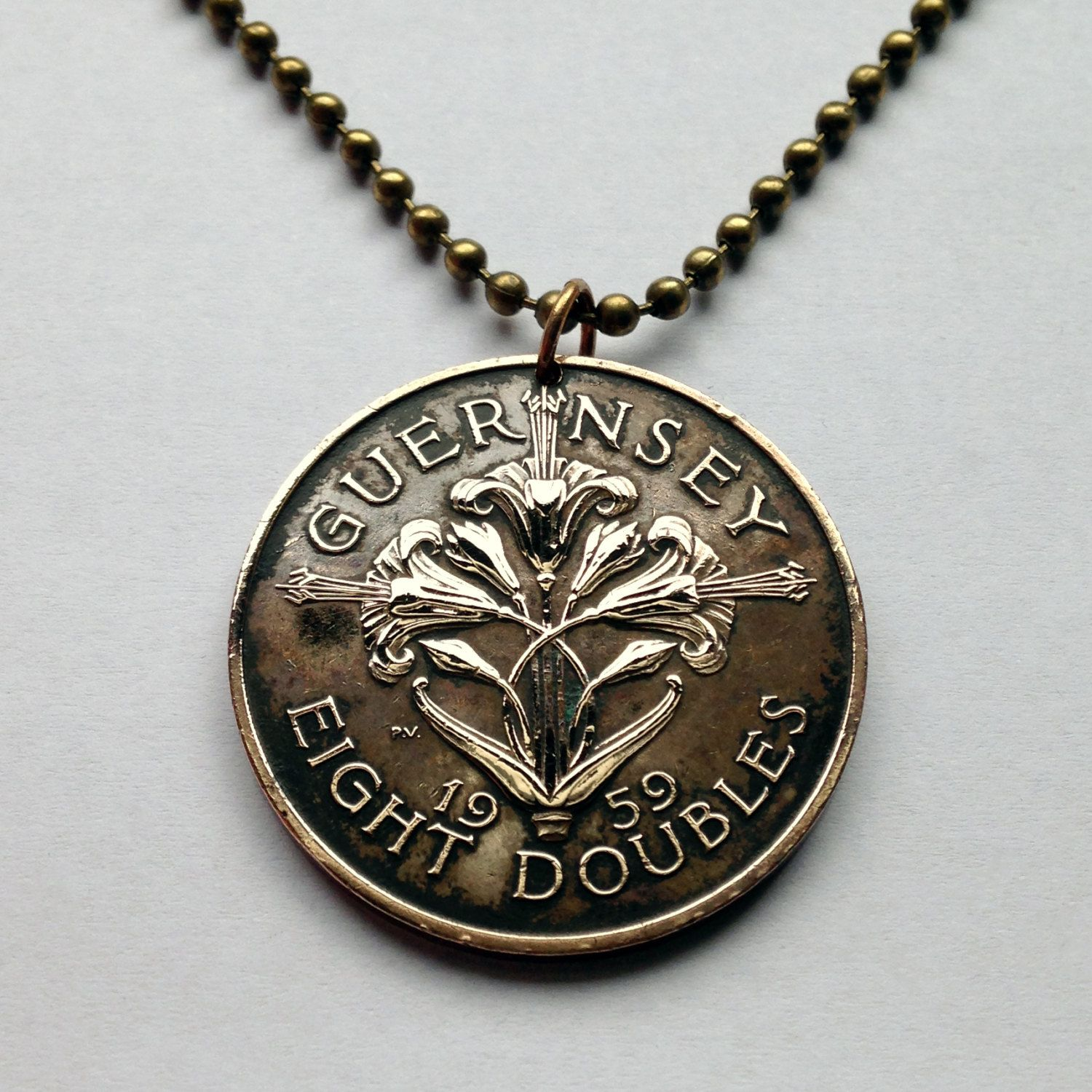 1959 Uk Bailiwick Guernsey 8 Doubles Coin Pendant Necklace Jewelry Lily Lillies Flowering Flower Plant Bouq Coin Pendant Necklace Pendant Necklace Coin Pendant