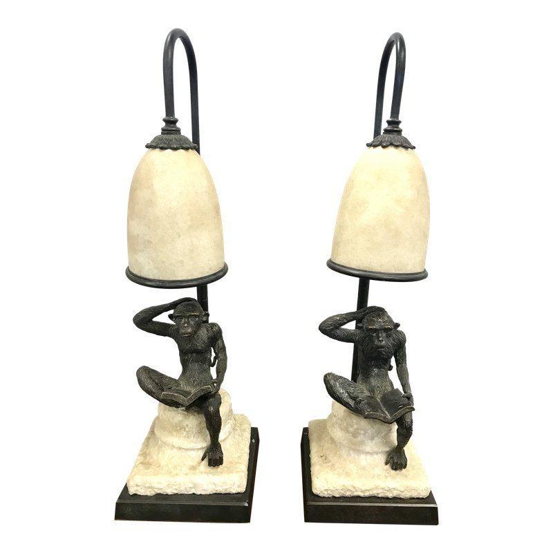 Stone And Bronze Monkey Lamps A Pair Lamp Table Lamp Table Lamp Lighting