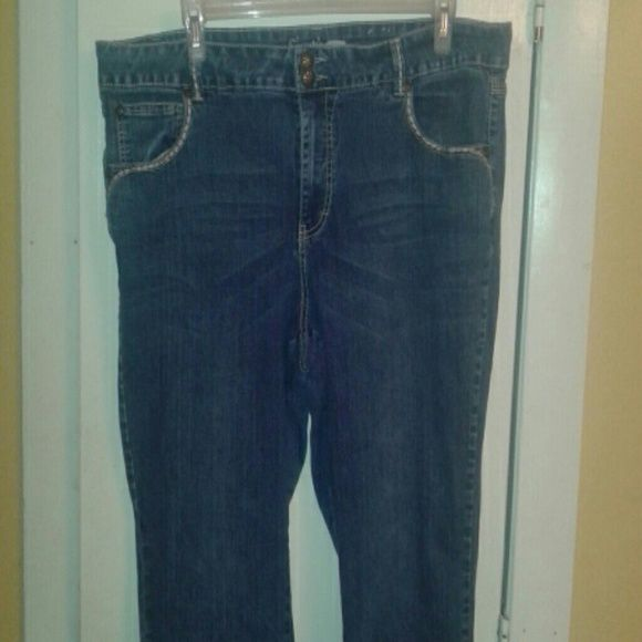 Fantasy jeans Skinny leg jeans, size 22, double button, taupe stitching detail, super cute jeans but they no longer fit me :-( price is firm unless bundled!! Fantasy Jeans Skinny