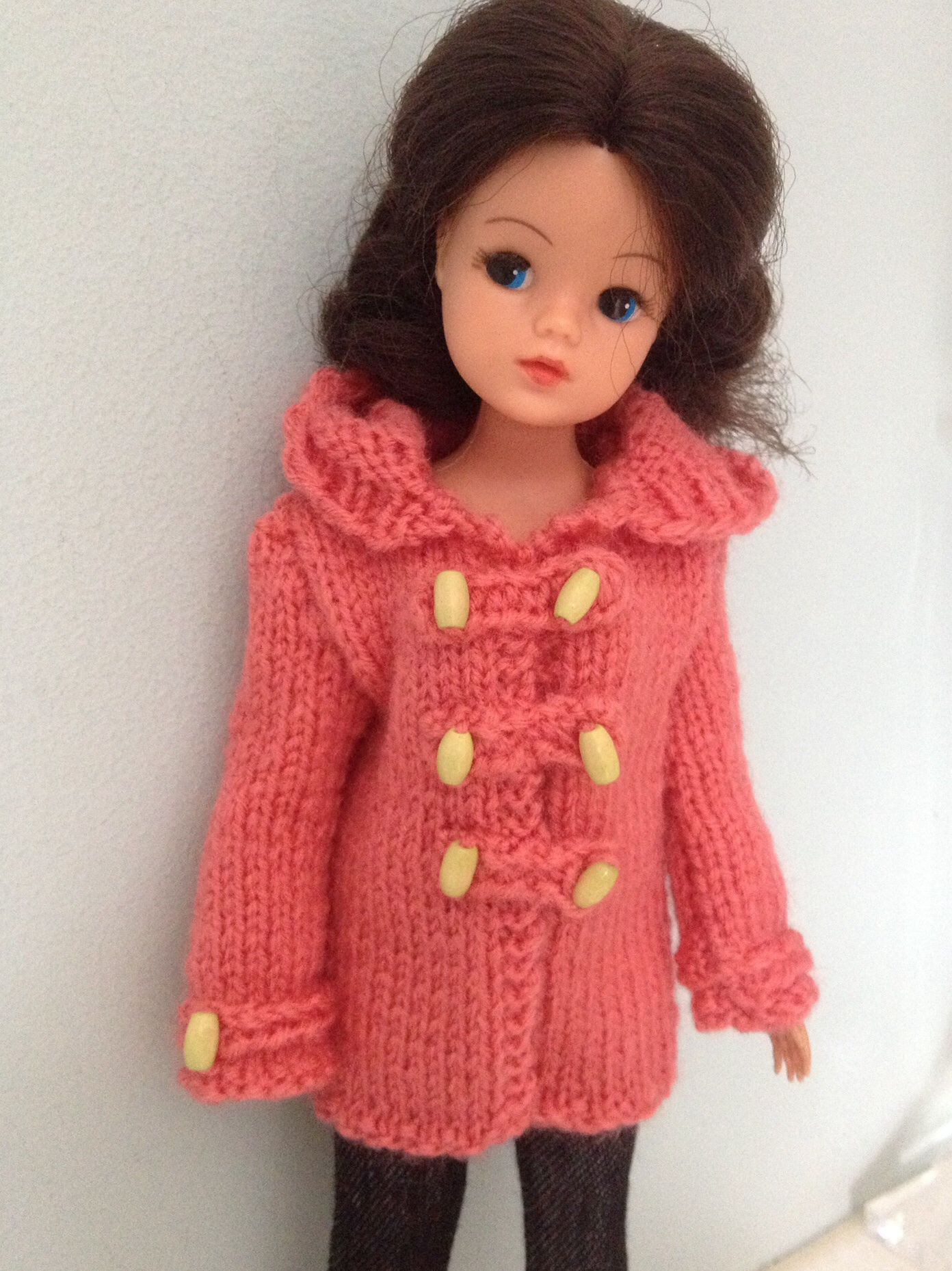 Hand Knitted Duffle Coat For Sindy Vintage Fashion Dolls