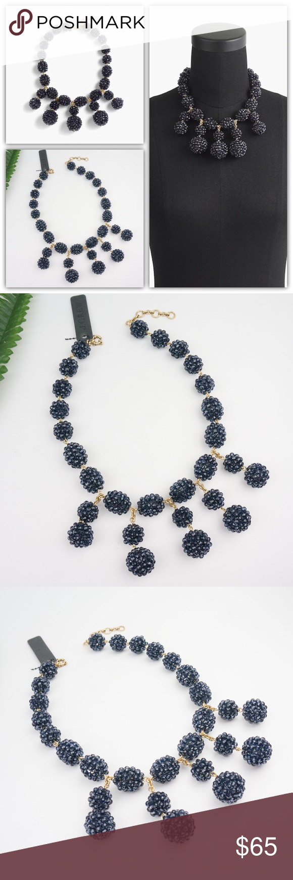 "J.Crew Blackberry Statement Necklace Brand new. Sold out online  Dark blue beaded baubles make this necklace a standout. * Glass beads, acrylic beads, SSR closure, logo tag with cubic zirconia. * Import. * Item H4249. Size:  Length: 18 1/2"" with a 2 1/2"" extender chain for adjustable length. J. Crew Jewelry Necklaces"