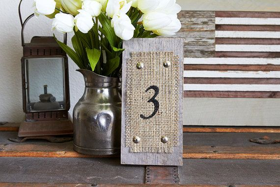 Wood and Burlap Leaning Table Numbers - Cottage Chic- Western- Rustic- Reclaimed- Country Wedding