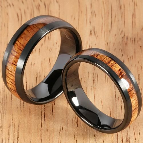 Black Tungsten Natural Hawaiian Koa Wood Inlaid Mens Wedding Ring