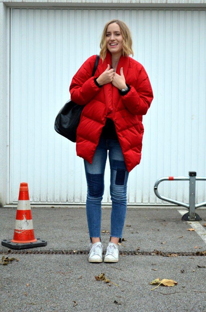 Brushmeetspaper Outfit Rote Daunenjacke Mango Asymmetrische