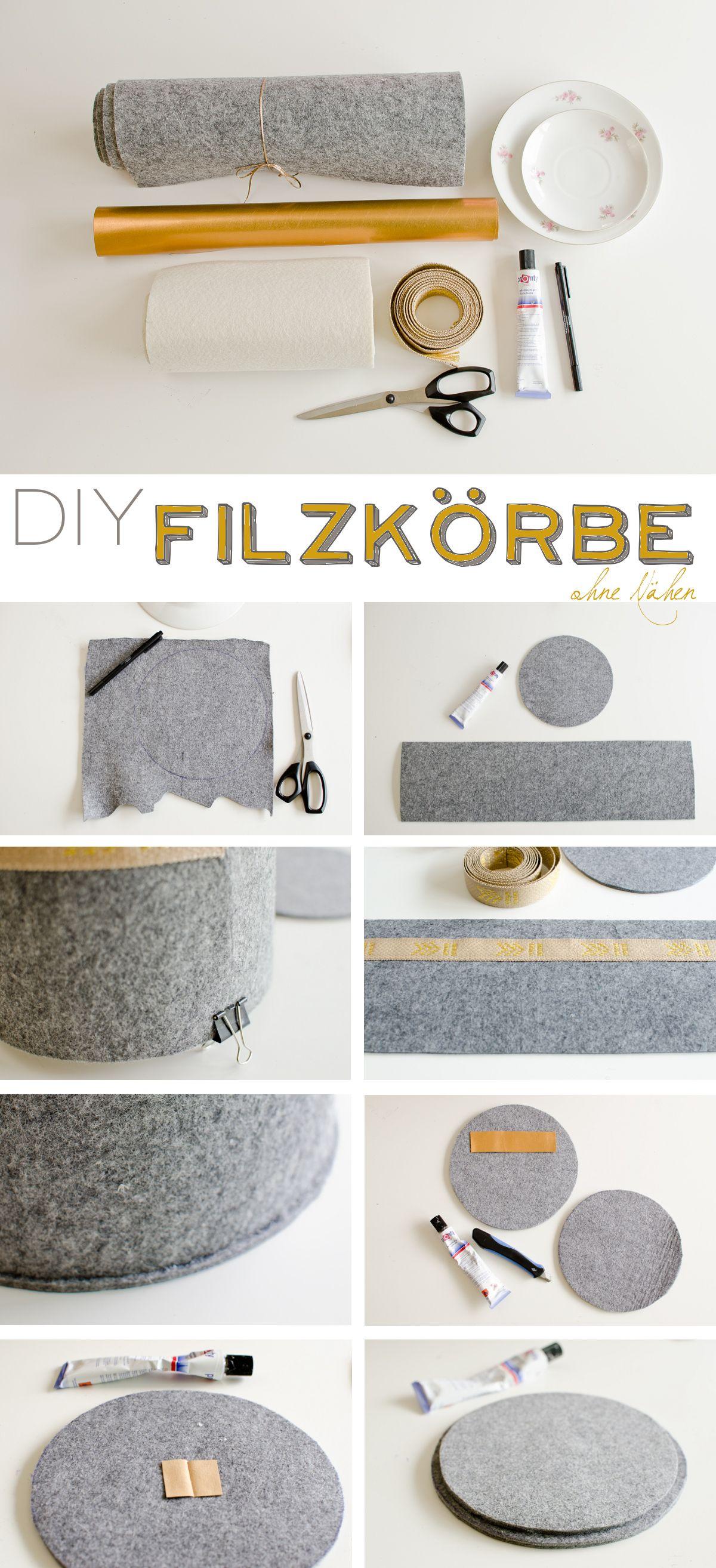 diy - Filzkörbe mit Deckel (ohne Nähen | Deckel, Herbst und Anleitungen