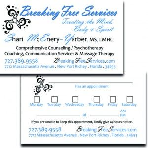 Therapist Business / Appointment Cards Massage therapy