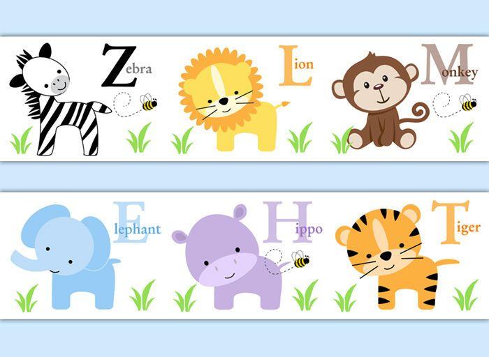 Safari Animal Wallpaper Border Baby Boy Nursery Alphabet Decal Wall Art Stickers Decampstudios