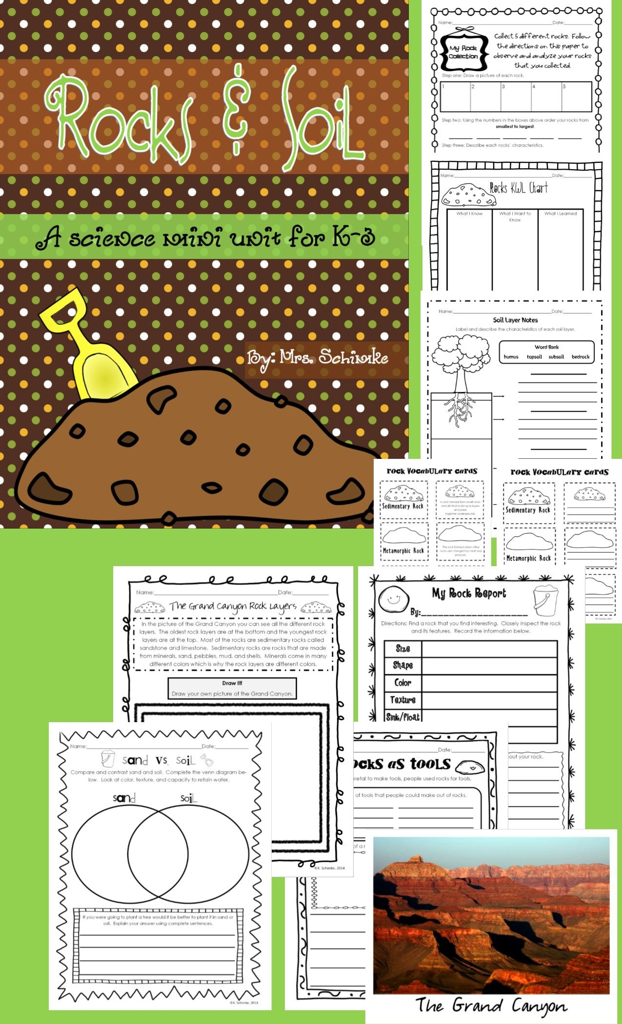 Rocks And Soil Science Mini Unit For K 3 First Grade Inspiration