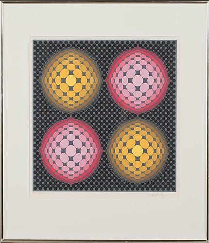 Victor Vasarely: Komposition, färglitografi, 50x50 cm, edition 250 - Bukowskis Market 2013
