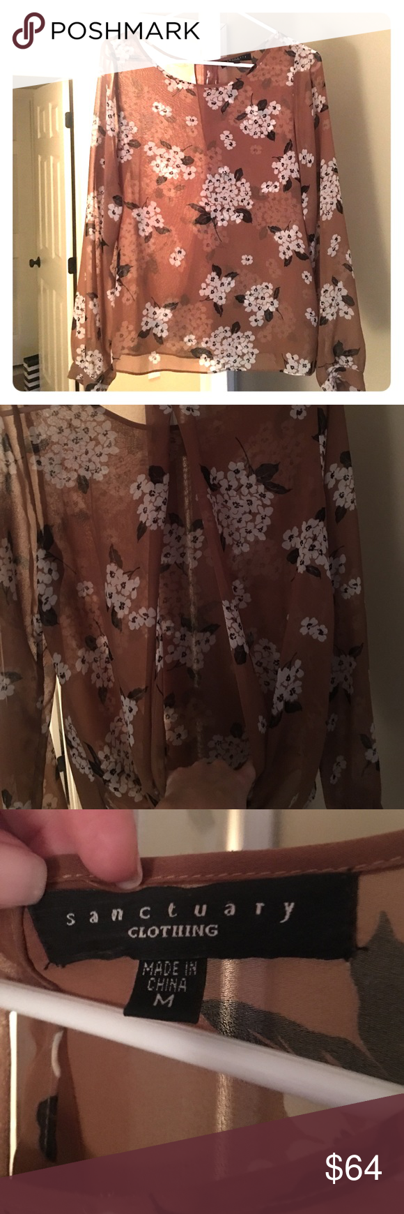 Sanctuary Split back top A sheer blouse with a back that opens in the back. Only worn 2x. Color didn't really flatter me otherwise I love this shirt! Sanctuary Tops Blouses
