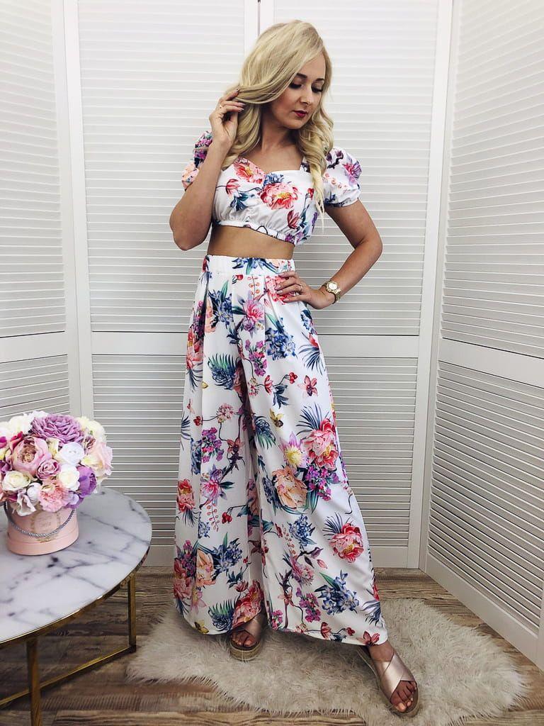 Komplet Flowers Top Spodnie Culottes Tops Two Piece Skirt Set Skirt Set
