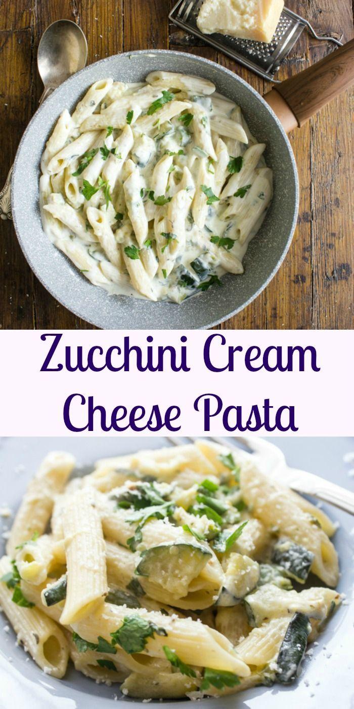 Zucchini Cream Cheese Pasta Yummy Pasta Recipes Cream Cheese Pasta Pasta Recipes