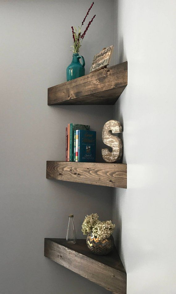 Corner Floating Shelves, corner shelf, corner shelves, floating shelves, wooden shelves, nursery shelves, rustic shelves, bathroom shelf #remodelingorroomdesign
